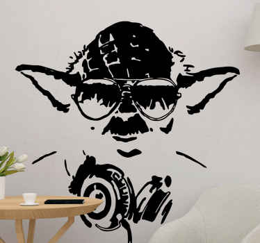Starwars art style sticker for living room. Adult Yoda with aviator glasses that reflect a jumping crowd and a DJ headset on its neck. Choose colours!
