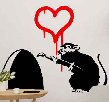 Contemporary art decals for home. This product has a Banksy painter rat working on a heart shape in your wall! Catch it before it goes to its hideout!