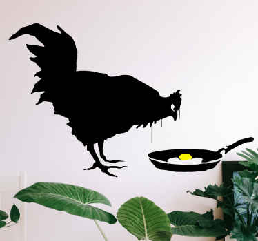 Banksy wall sticker which features one of his most famous pieces of work which is of a chicken looking at a fried egg. Anti-bubble vinyl.
