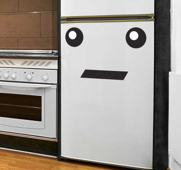 A fun fridge sticker of an emoticon style face with two eyes and a shocked looking mouth.