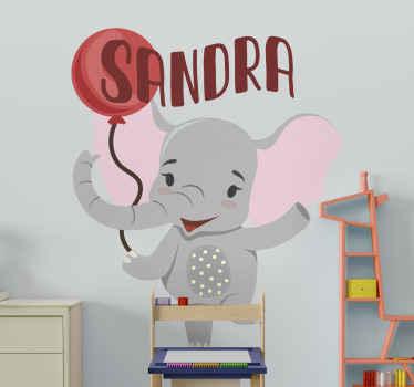 Originale adesivo elefantino con palloncino e scritta del nome personalizzabile, perfetto per personalizzare la stanza con un design unico ed esclusivo