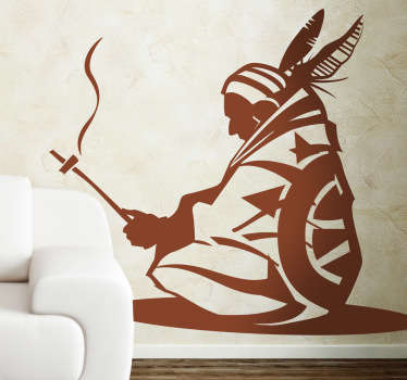 A wall sticker illustrating an Indian chief. This monochrome decal is perfect for those looking for an original wall decoration.