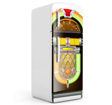 Fridge Sticker inspired by the classic jukebox design. Add some colour and a cool retro theme to your kitchen decor with this classic rock music jukebox cover. Bring the green and orange neon lights the your kitchen and improve the look of a room you use every single day!