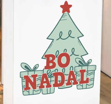 ¡Celebra con estilo con este vinilo navideño con un árbol y regalos! Ideal para tu hogar o escaparates ¡Envío exprés a domicilio!