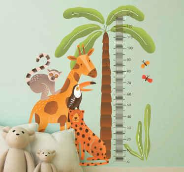 Che bella sticker del grafico di altezza per la camera da letto del tuo bambino. Decalcomania metro creata insieme a varie animali della giungla.