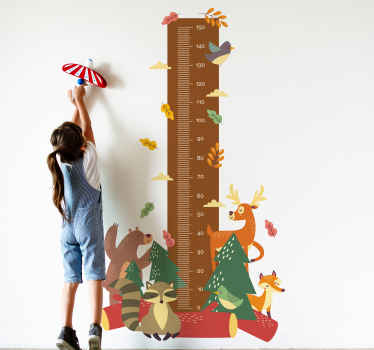Height chart wall sticker which features a tape measure surrounded by cute forest animals such as a deer, bird and badger.