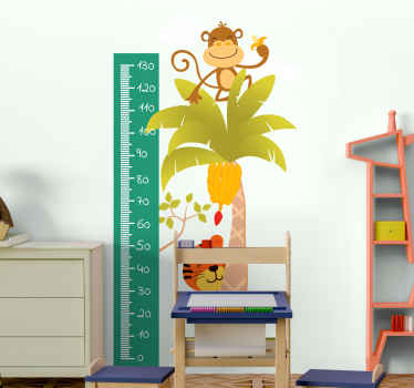 Animal height chart sticker which features an image of a tiger behind a palm tree with a monkey on top. +10,000 satisfied customers.