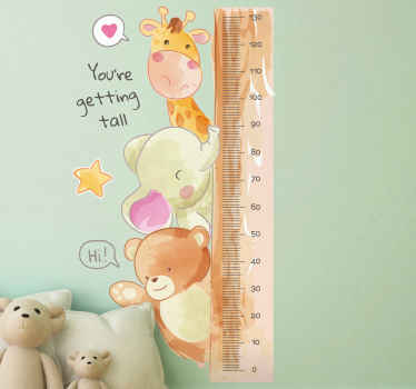Height chart wall sticker which features a tape measure surrounded by an adorable giraffe, elephant and bear. +10,000 satisfied customers.