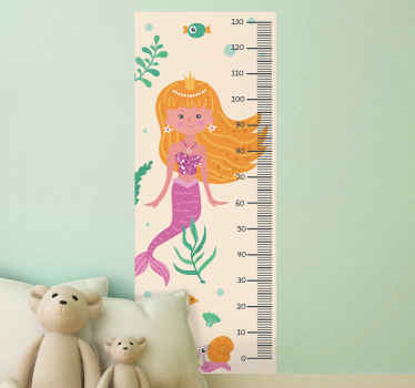 Meter height chart decal hosting the illustration of a mermaid under the sea with beautiful sea animals. Easy to apply, removable and adhesive.