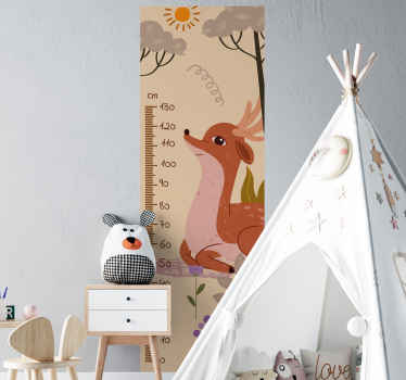 Animal meter height chart decal for children with illustration of a dear with nature landscape in beautiful colour. Easy to apply and durable.