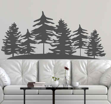 Wall sticker with coniferous trees. It is made of high quality vinyl material and you can personalize it in any size and colour.
