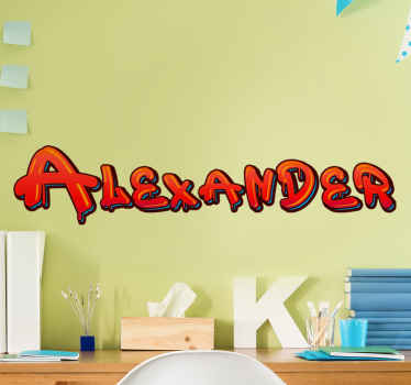 Graffiti wall decal which features your child's name written in an epic graffiti font which is coloured in red and black.