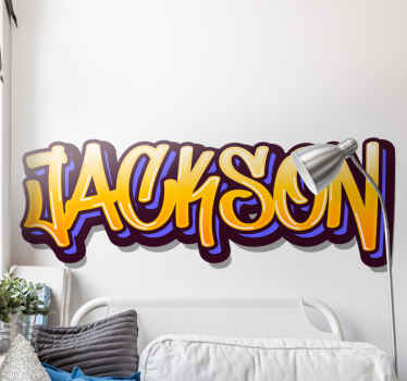 Graffiti wall sticker which features your child's name in an epic graffiti font, coloured in purple, blue and orange. Easy to apply.
