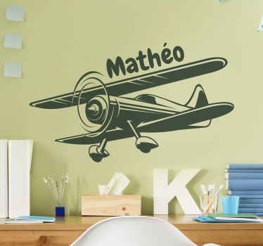 Customizable illustrative biplane sticker for children. It is easy to apply, wrinkle free, comes in customizable color and size options.