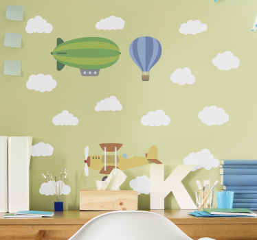 An amazing illustration decal of an air balloon with airplane flying  in the cloud. It is durable, original and available in any size you want.