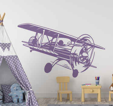 Wall sticker with a vintage airplane. It is made of high quality vinyl material and you can personalize it in any size and colour.