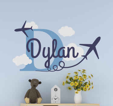Personalize the space of your kid or teen with this lovely illustrative flying plane sticker customizable with name. Available in any size you want.