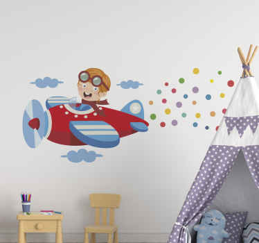 Wall sticker with a red plane. It shows a boy in a red plane throwing confetti from the plane. Made of high quality vinyl. Choose your size.