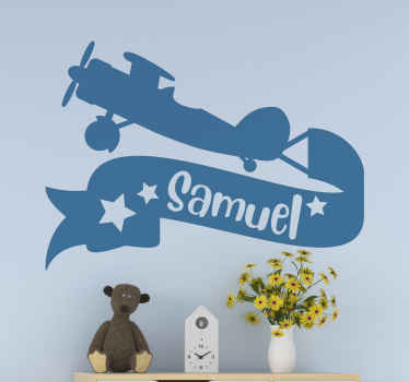 Surprise your children today with this customizable plane wallsticker. This design can be bought in over 50 different colors. Get it today!