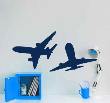 An illustrative airplane wall sticker design of 2 Boeing plane flying in the sky. The colour and size is customizable. Easy to apply and removable.