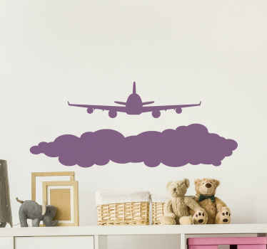 Wall sticker with a flying airplane. The patern shows a plane flying over a cloud. It is made of high quality vinyl material.
