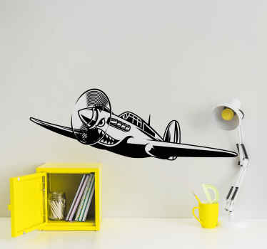 Wall sticker with WWII aircraft. The pattern shows an airplane from the WWII times.  It is made of high quality materials.