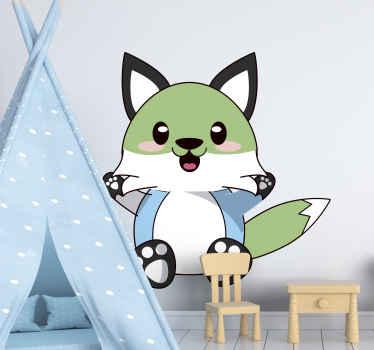adhesif avec renard anime. Il montre un joli renard coloré imprimé dans un style anime. En sticker de haute qualité. Vérifiez-le!