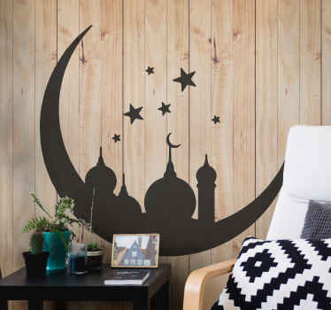 An oriental Islamic monuments sticker with crescent moon and stars. Available in various ranges of colours and the size it customizable.