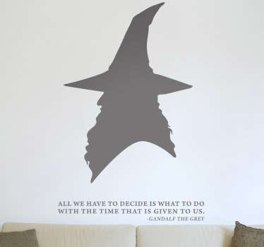Wall Stickers-Silhouette illustration inspired by the film-The Lord of the Rings. Profile design of Gandalf the wizard above a quote from the series.