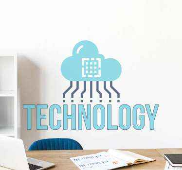 Office decal which features the text 'technology' under a cloud with wires coming out of it. Easy to apply and remove from surfaces.