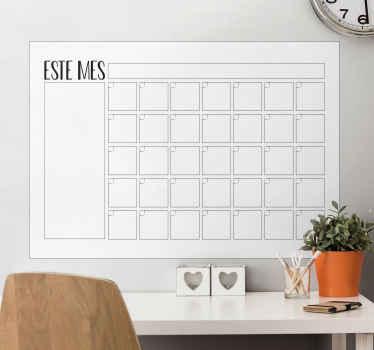 Pizarra adhesiva para despacho que representa una tabla con los días del mes en el que podrás hacer tu plan ¡Fácil de colocar en la pared!