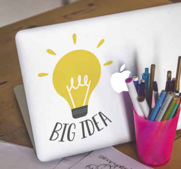 Laptop sticker which features the text 'Big Idea' next to a picture of bright light bulb. +10,000 satisfied customers. High quality.
