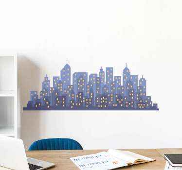 Skyline wall sticker which  features a cartoon image of a group of skyscrapers at night with their lights on. Easy to apply.