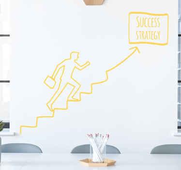 """Vinilo para despacho de éxito que muestra un hombre que camina en una escalera hacia una pancarta que dice """"estrategia de éxito"""" ¡Fácil de colocar!"""
