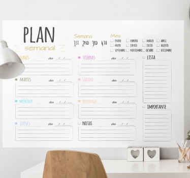Weekly agenda home decal with schedule illustration design. It can also be decorated on an office space to keep track of your business and work goals.