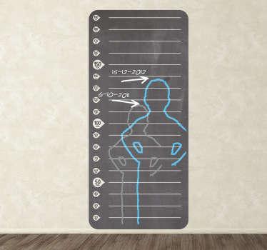 Sticker mesureur de hauteur en ardoise
