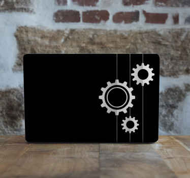 Decorative mechanism black background laptop skins. It is made with quality vinyl, easy to apply and removable anytime without problem.