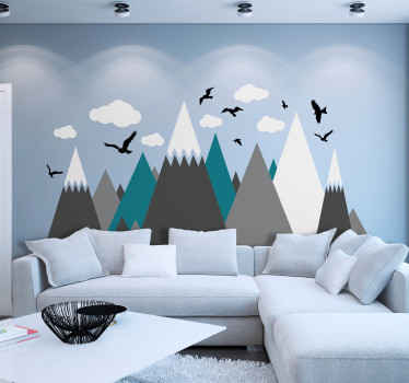 Colorful, calm and amazing illustrative snowing mountain wall decal with clouds and birds flying. It is easy to apply and made with quality material.