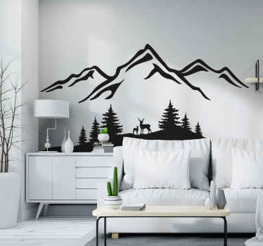 Hand dawning soothing nature decal illustration of mountain and forest landscape with deer. The colour an size is customizable.