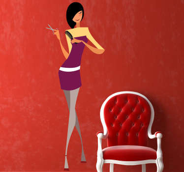 Wall Stickers - Illustration of a stylish hairdresser. Ideal for hair and beauty organisations and businesses.