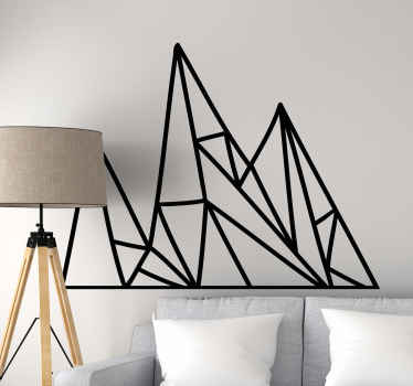 Simple illustrative geometric wall sticker depicting a mountain shape and landscape.. The colour and size is customizable and it is easy to apply.