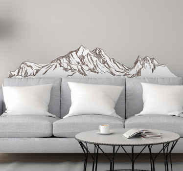 A peaceful nature theme wall sticker illustrating a mountain landscape. Suitable to decorate a home, office, vehicle and on personal accessories.