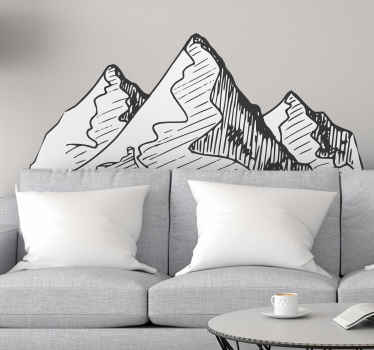 Simple and illustrative mountain landscape wall sticker showing road paths in the mountain.  Available in various sizes and made with quality vinyl.