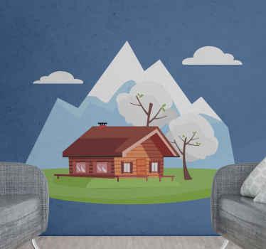 Krajolik s naljepnicama prirode planine i ladanjske kuće. Lijepo za zajednički prostor poput dnevnog boravka, prostora za goste, dnevnog boravka itd.