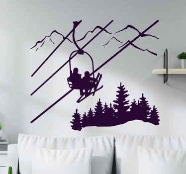 Belle décoration thème de la nature adhesif design illustrant un paysage montagneux avec des skieurs. Disponible dans toutes les tailles
