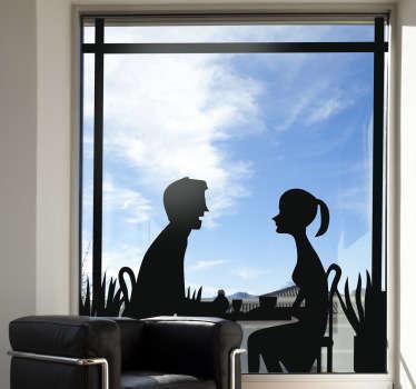 Sticker raam silhouette stel aan tafel