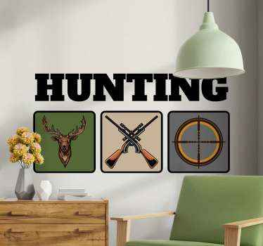 Hunting illustration wall sticker hosting design of a deer, gun and a hunter's crossbow sign on square backgrounds.  The design is titled 'Hunting.