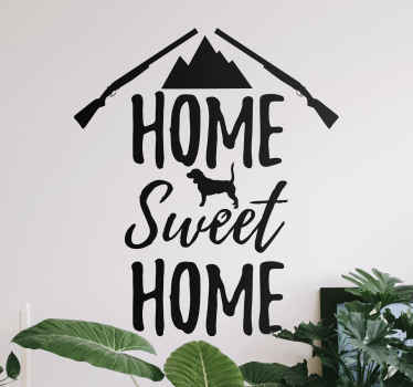 Home sweet home text sticker with drawing illustration of a house. Perfect home decoration, it can be applied on any part of a house.