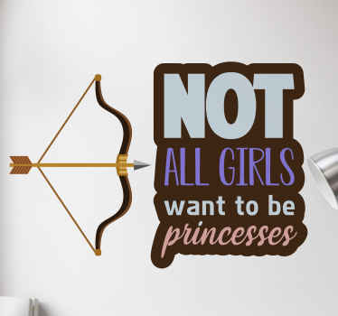 Treat your daughter, wife or sister an unique decoration with this princess hunter wallsticker. Made out of a good looking matte material. Order now!