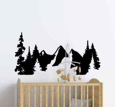 Mountain wall decal which features a silhouette of a group of mountains and trees. Easy to apply and remove. High quality.